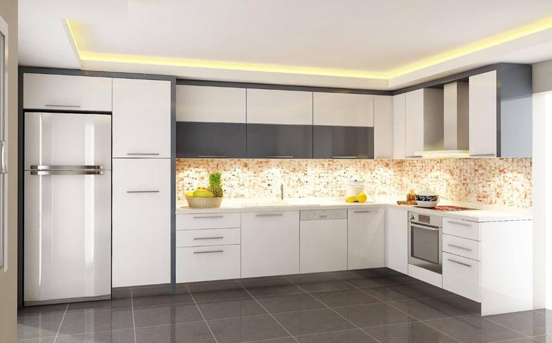 beyaz mutfak dolabi dekorasyonu